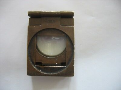 Antique FOLDING BRASS Sewing Magnifying THREAD COUNTER made in FRANCE