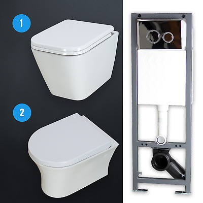 Toilet WC Concealed Frame Bathroom Wall Hung Mounted Ceramic White Combo