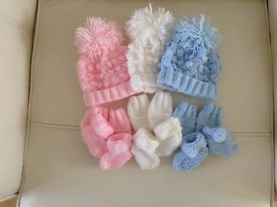 Hand Knit Newborn Baby Bobble Hats! Mitts, And Bootys Sets Blue!pink! And White