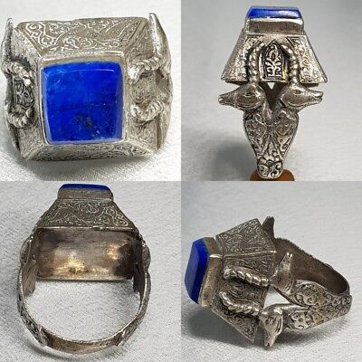 2 Deer  Lapis lazuli Silver Antique Medieval Unique Ring #L