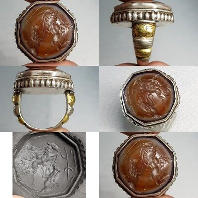 Old Roman Lion Hunter Agate Intaglio Stone silver Lovely Ring #L