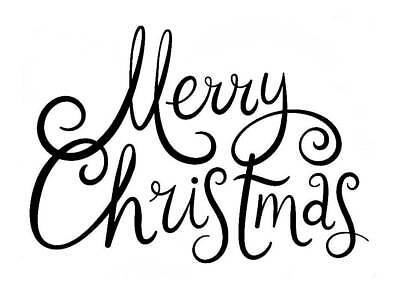 Merry Christmas Freehand Large Unmounted Rubber Stamp by Stamp Addicts