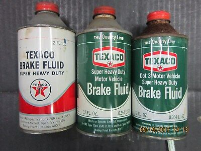 3 Different Texaco Brake Fluid Cans