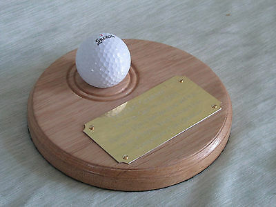 """Golf Ball Display / Presentation Plaque Trophy. """" Hole In One """""""
