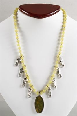 Exquisite Yellow & Green Serpentine Bead & Seahorses Necklace