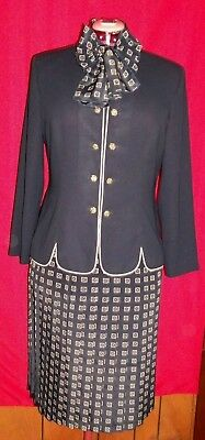Leslie Fay Vintage  long  Sleeve Womens Pleated Skirt Suit 2 Piece Set Size 16