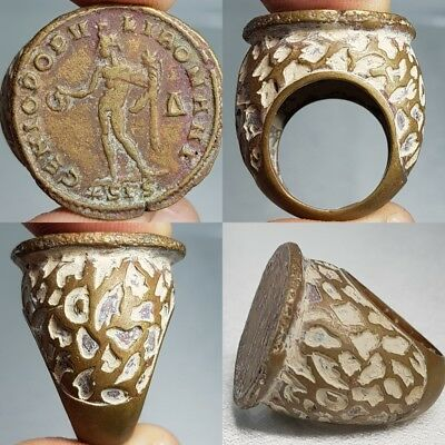 Old Stunning  Coin Bronze Near Eastern Wonderful Ring #L