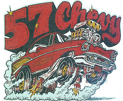 Vintage '57 Chevy CAR T-Shirt Iron-On Chevrolet Hot Rod Red GENUINE OOP VTG 1957