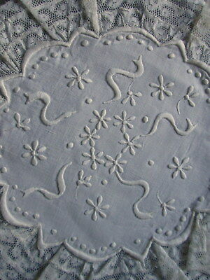 """ANTIQUE EMBROIDERED DOILY French Lace Ruffle Trim Victorian Linen Whitework 11"""""""