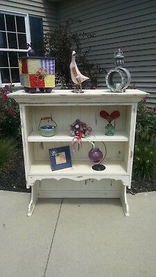 Beautiful Ivory Two Shelf Distressed Hutch