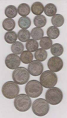 1/2 POUND Silver Coin Lot - England (Great Britain)  Shilling, Florin, 1/2 Crown