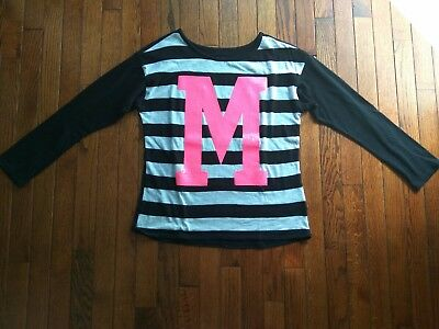 Justice Black and white long sleeve w/ pink M size 16 - 18
