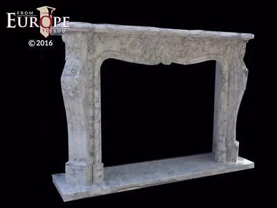 Hand Carved Carrara Marble Estate Fireplace Mantel - Cmm4