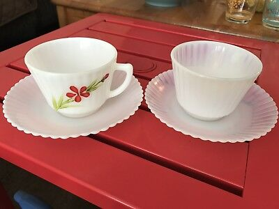 MacBeth Evans Petalware Cups & Saucers (Flower & White)