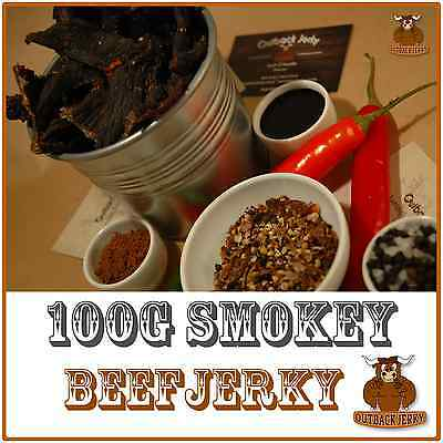 BEEF JERKY SMOKEY 100G Hi PROTEIN LOW CARBOHYDRATE PRESERVATIVE FREE SNACK