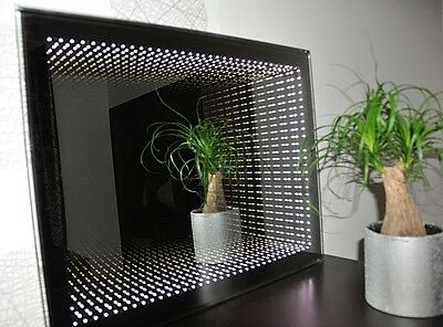 RECTANGULAR LED ILLUMINATED 3D INFINITY BATHROOM MIRROR 40x50cm ON/OFF SWITCH