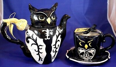 Wonderful Blue Sky Clayworks Halloween Owl Teapot & Teacup Set Heather Goldminc