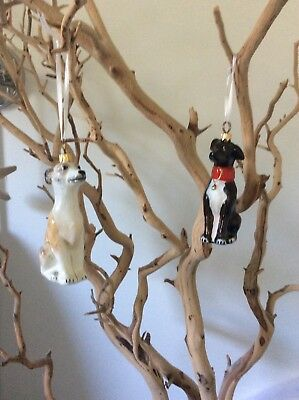 2x Greyhound/Whippets Glass X-Mas Ornaments,Figurines By Joy Of The World