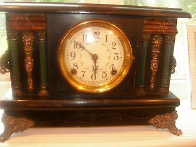 early 1900s sessions ebonised greek theme mantel clock working american