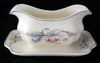 Antique Steubenville Pottery Gravy w/ Attached Under Plate – Watercolor Floral