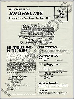 Vintage Marquee Club at The Shoreline Sussex flyer Nov 66 Early David Bowie gig