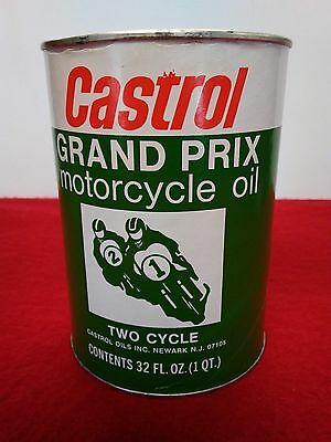 Vintage N.o.s. Castrol Grand Prix Motorcycle Oil Quart Can 2 Cycle