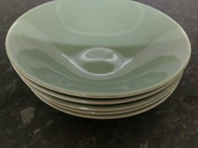 Poole Pottery Cameo Celadon Green - 5  X Cereal/dessert Bowls