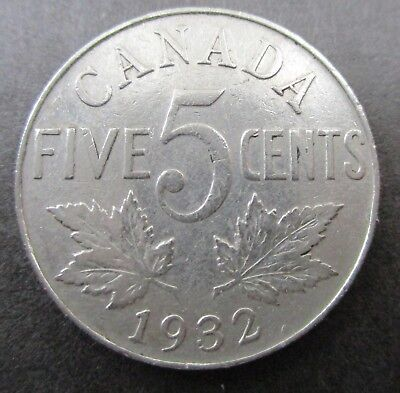 1932  Canada 5 Cents - Canadian Coin George V - Nice Coin