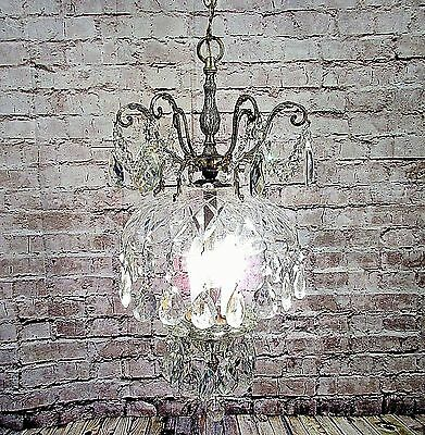 Antique Vintage Chandelier Bronze Crystal Pendant 3 Light Restored Fixture LAMP