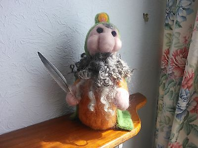 Wizard-Gnome-Elf with Writing Quill Olaf 26cm tall OOAK Handmade Needle Felted