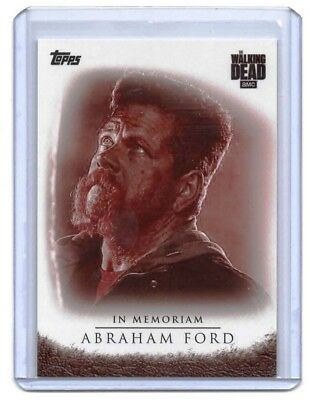The Walking Dead Season 7 In Memoriam Abraham Ford BLOOD Trading Card #/10 SSP