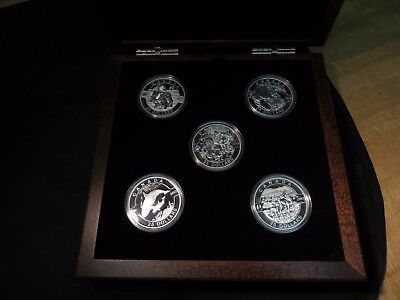 """2013 Canada """"O Canada"""" 5 pc $25 Silver Proof Set- in Display- LOW MINTAGE"""