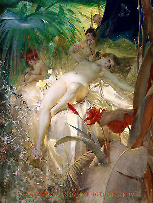 "Nude Love Nymph, 8.5x11"" Photo Print Classic Fine Art Naked Woman Anders Zorn"