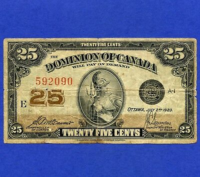 1923 Dominion Of Canada 25 Cent ( Shinplaster ) Bank Note S/N E 592090