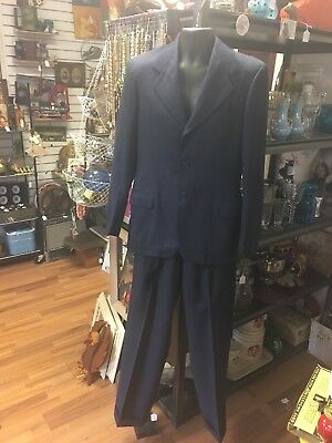 Vintage Men's 2 Piece Suit Blue Pinstriped 1939-1949 swing dance hipster fashion