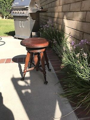 Antique Piano Organ Stool Bench Seat Vintage Victorian Wood Glass Claw Foot