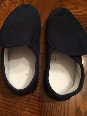 Brand New-Navy Blue Men's Slippers-Size Large, Velcro Closure