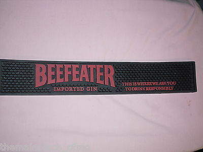 Beefeater Gin Bar Mat 2005 Black Red Drink Responsibly Imported Rubber Top