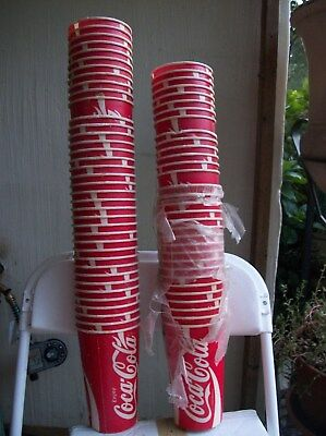 70 coca cola cups waxed paper early 90's by Sweetheart w Magic Cup Game sticker