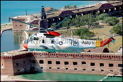 USN H-3 Sea King Near Fort Jefferson 2005 5x7 Helicopter Plane Photo