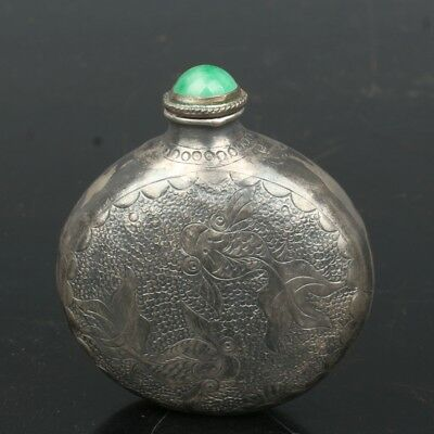 China Exquisite Handmade lotus fish pattern silver snuff bottle
