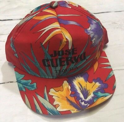 Jose Cuervo Tequila Embroidered Logo Tropical Snapback Hat Cap Red Flowers
