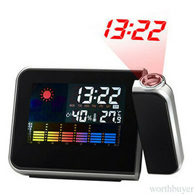 LCD Digital LED Projector Projection Snooze Alarm Clock Weather Station Calendar