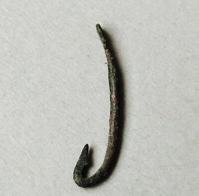 Ancient Roman Bronze Fish Hook C. 1st-2nd century A.D. FREE UK POSTAGE