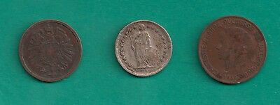 1876-F Germany 2 Pfennig, 1921 Switzerland 1/2 Franc, Luxembourg 10 Centimes Lot