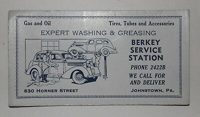 Vintage Berky Service Station Advertising Ink Blotter Johnstown Pa