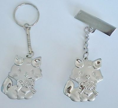 Ladies/girls/nurses Cat/kitten Keyring/key Chain Pendant Pocket Fob Watch