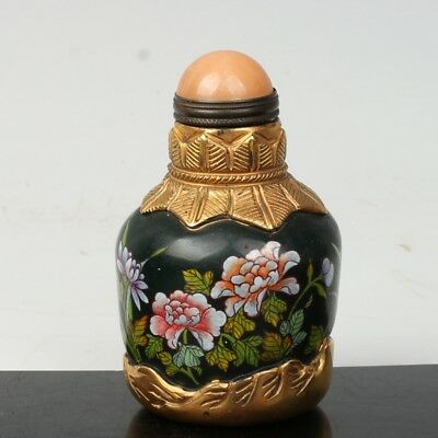 China Exquisite Handmade flowers pattern Glass snuff bottle