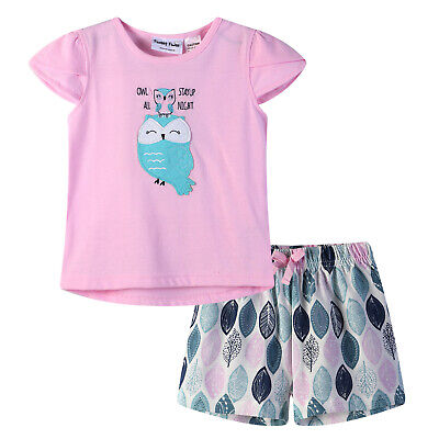 Girls PJs Size 0-2 Summer 2pc Cotton Short Sleeve Pyjamas Set Pink Owl (704)