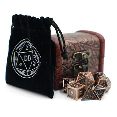Bronze Fantasy DnD Metal Dice Set with Storage Chest for Roleplaying Games